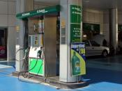 Dual-fuel gas station at Sao Paulo, Brazil. Alcohol (ethanol) and G gasoline