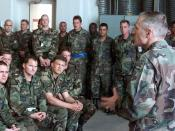 Wesley Clark, Supreme Allied Commander of Europe, meets with members of the 510th Fighter Squadron and the 555th Fighter Squadron who are deployed to Aviano Air Base, Italy, on May 9, 1999, in support of NATO Operation Allied Force.