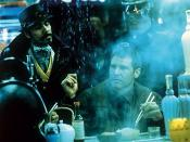 Harrison Ford as detective Rick Deckard in Blade Runner (1982). Like many classic noirs, the film is set in a version of Los Angeles where it constantly rains. Hunter (1982), p. 197. The steam in the foreground is a familiar noir trope, while the