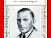 English: George Nelson Peek, first Administrator of the U.S. Agricultural Adjustment Administration, on the cover of Time magazine on Nov. 6, 1933