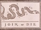 English: This political cartoon (attributed to Benjamin Franklin) originally appeared during the French and Indian War, but was recycled to encourage the American colonies to unite against British rule. Description taken from File:Joinordie.jpg uploaded b