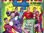 American wartime comic showing Mussolini, Hitler and Hirohito beaten by superheroes