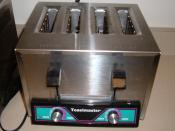 Toastmaster industrial-grade toaster, capable of toasting sliced bread and bagels.
