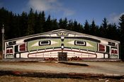 English: A Kwakwaka'wakw big house near Alert Bay.