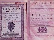 A first edition of the Treaty of Utrecht, 1713, in Spanish (left), and a copy printed in 1714 in Latin and English (right).