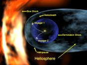 A diagram depicting Voyager 1 at its relative position in the heliosheath. Since then, Voyager 2 has joined it in the heliosheath.