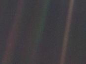 Seen from 6 billion kilometres (3.7 billion miles), Earth appears as a