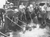 English: The Baker shot of Operation Crossroads, Bikini Atoll, July 25, 1946. Sailors scrub down the German cruiser Prinz Eugen, in a futile attempt to remove radioactive contamination.