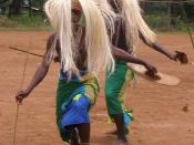 Orphaned young men learn traditional Rwandan dance in Gasogi village near Kigali Rwanda.