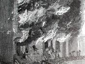 English: photo of rioters attacking a building on Lexington Avenue during the New York Draft Riot of 1863. The photo, appearing in William J. Bradley's