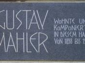 English: Gustav Mahler, memorial plaque at his residence in Vienna Deutsch: Gustav Mahler, Gedenktafel an seinem Wohnhaus in Wien