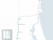 Map of the Maroochydore railway line, Queensland.