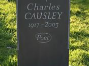 English: The Grave of Charles Causley in St Thomas Churchyard Charles Causley was one of the country's most highly regarded poets but he remained rather unfashionable, perhaps because of his love of writing poetry for children and of the ballad form. He l