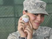 Young GI models a 'stress ball' at Guantanamo. :Original caption: :