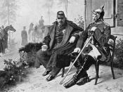 Napoleon III having a conversation with Fürst Otto von Bismarck after his defeat and capture at Sedan.