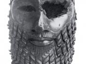 Bronze head of a king, most likely Sargon of Akkad but possibly Naram-Sin. Unearthed in Nineveh (now in Iraq). In the Iraqi Museum, Baghdad. Height 30.5 cm.