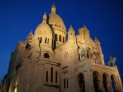 View of Sacre-Coeur, Montmartre at night.
