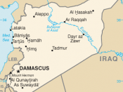 Map of Syria, showing its adjacent location west of Iraq