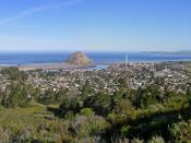 Skyline of Morro Bay, with Morro Rock in the center