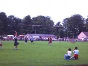 English: Elgin Highland Games Tossing the caber at Elgin Highland Games, held annually on Morriston Playing Field.