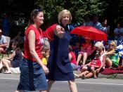 English: Maggie Brooks marching in the 2011 Irondequoit, New York Independence Day parade