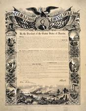 Photograph of a reproduction of the Emancipation Proclamation