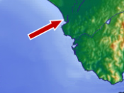 The arrow points to the city of Sanlúcar de Barrameda on the delta of the Guadalquivir River, in Andalusia.