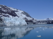 UPPER END OF TARR INLET, GLACIER BAY NATIONAL PARK. MARGERIE GLACIER LEFT FOREGROUND, GRAND PACIFIC GLACIER RIGHT BACKGROUND