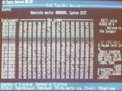 English: Details of this photograph include (1) it is the hex dump of the boot sector of a floppy (A:) containing the first ever PC virus, Brain, (2) PC Tools Deluxe 4.22, a file manager and low-level editor, was being used (3) the PC was a 8088 running a