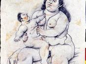 In his Maternity, 2006, Botero enhances the religious meaning of motherhood