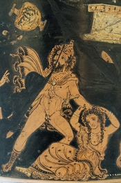 Lycurgus, driven mad by Dionysos, attacks his wife. Detail from an Apulian red-figure calyx-krater, ca. 350-340 BC. From Ruvo.