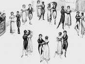 English: Detail from frontispiece to Thomas Wilson's Correct Method of German and French Waltzing (1816), showing nine positions of the Waltz, clockwise from the left (the musicians are at far left). At that time, the Waltz was a relatively new dance in E
