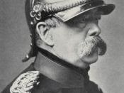 Otto von Bismarck wearing a cuirassier officers' metal Pickelhaube.