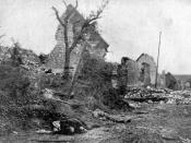 Aftermath of the fighting in the French town of Carency during the Second Battle of Artois, May 1915.