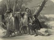 Engraved print depicting Roger Williams, founder of Rhode Island, meeting with the Narragansett Indians