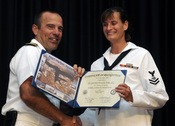 US Navy 091029-N-7498L-066 Information Systems Technician 2nd Class Denise Darling received the certificate of recognition for completing her bachelors degree in Criminal Justice with emphasis in cyber crime
