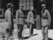 English: Chiang Kai-shek, leader of China, on the right, meets with the Muslim Generals Ma Bufang (second from left), and Ma Buqing(first from left)at residence in Xining August 1942.