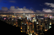 English: victoria peak panorama hong kong kowloon night 2011 dusk