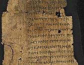 The Gospel of Thomas - caption: 'Preface and Sayings of Jesus.  The second of three fragments of the original Greek text of the Gospel of Thomas.The fragment contains part of the Prologue, and the first six sayings of Jesus. Excavated at Oxyrhynchus, in M