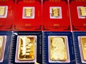 Gold Bars in Golden Bullion Shop