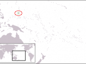 The location of Guam in the western North Pacific Ocean
