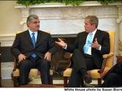 English: President George W. Bush and Rafik Hariri meeting in the White House.