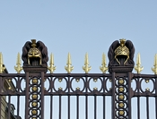 Two decorative ancient helmets on the gate of the Ecole Militaire in Paris.
