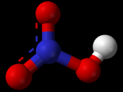 Ball-and-stick model of the nitric acid molecule, HNO 3