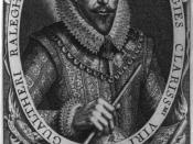 English: An engraved portrait of Sir Walter Raleigh.