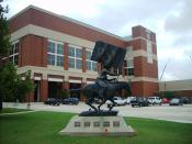 English: Photo of the Spirit Rider statue in front of historic Gallagher-Iba Arena at Oklahoma State University, Stillwater, Oklahoma, USA