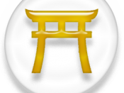 Symbol of Shintoism, white and golden version.