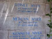 English: Grave of Sidney Myer, Merlyn (Margery) Myer, Kenneth Myer, and Yasuko Myer. Box Hill Public Cemetery, Box Hill, Melbourne, Victoria, Australia.