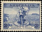 English: A scan of a 1936 Australian postage stamp commemorating the opening of the undersea cable from Tasmania (Stanley) to the mainland (Apollo Bay, Victoria) depicting Amphitrite