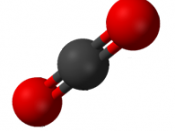 ball-and-stick model of CO2: carbon dioxide